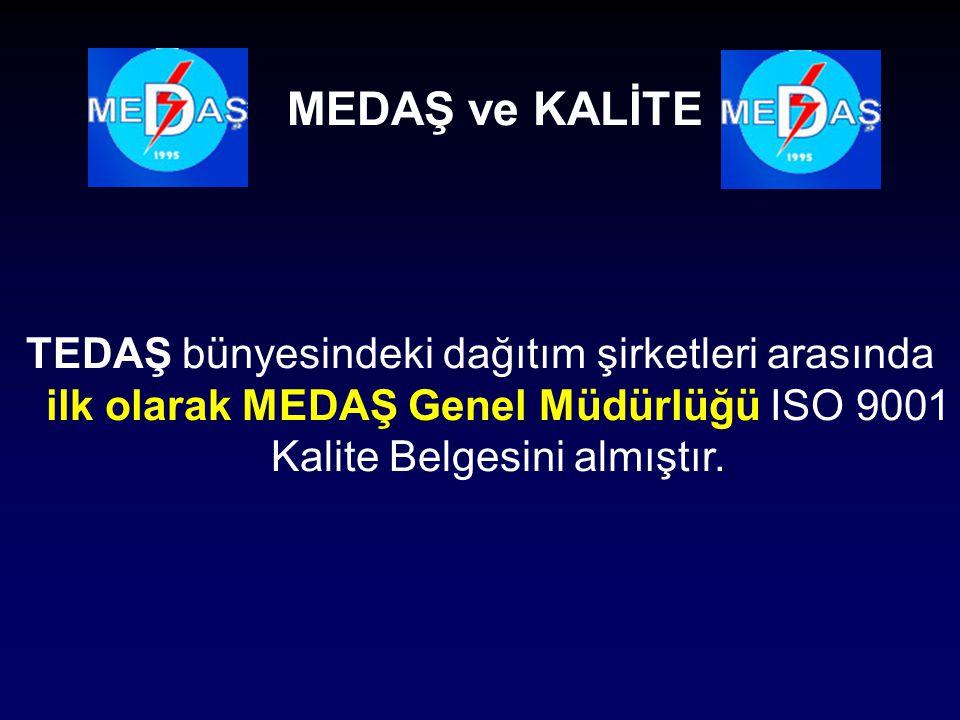 TEDAŞ bünyesindeki dağıtım şirketleri arasında ilk olarak MEDAŞ Genel Müdürlüğü ISO 9001 Kalite Belgesini almıştır. MEDAŞ ve KALİTE