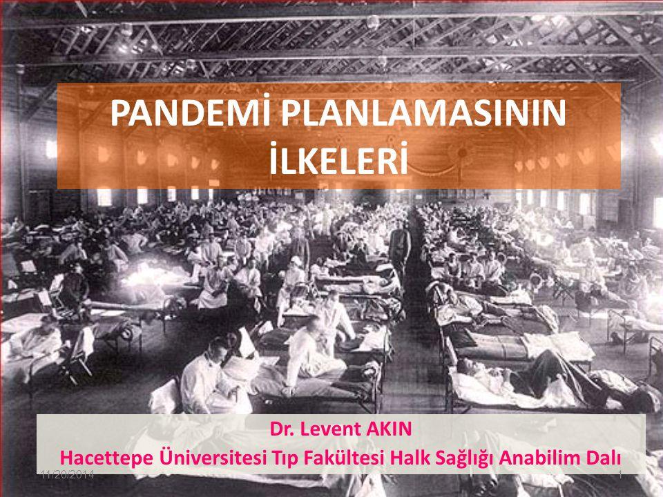 PANDEMİ PLANLAMASININ İLKELERİ Dr. Levent AKIN Hacettepe Üniversitesi Tıp Fakültesi Halk Sağlığı Anabilim Dalı 11/20/20141