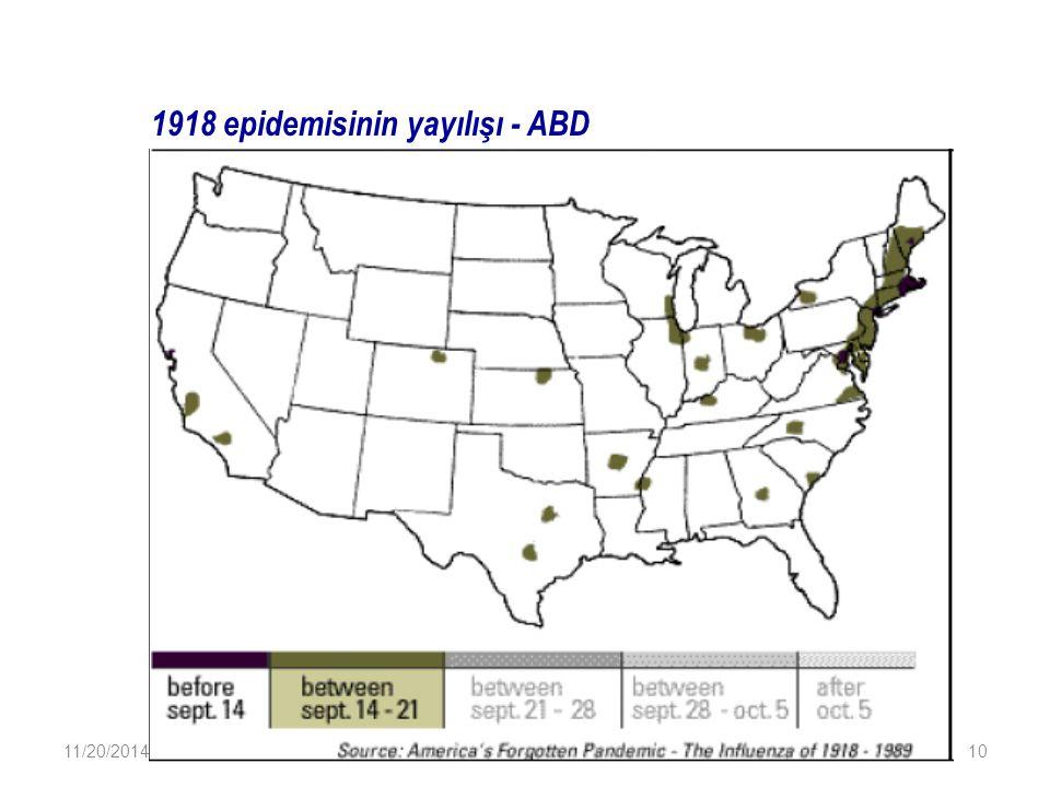 1918 epidemisinin yayılışı - ABD 11/20/201410