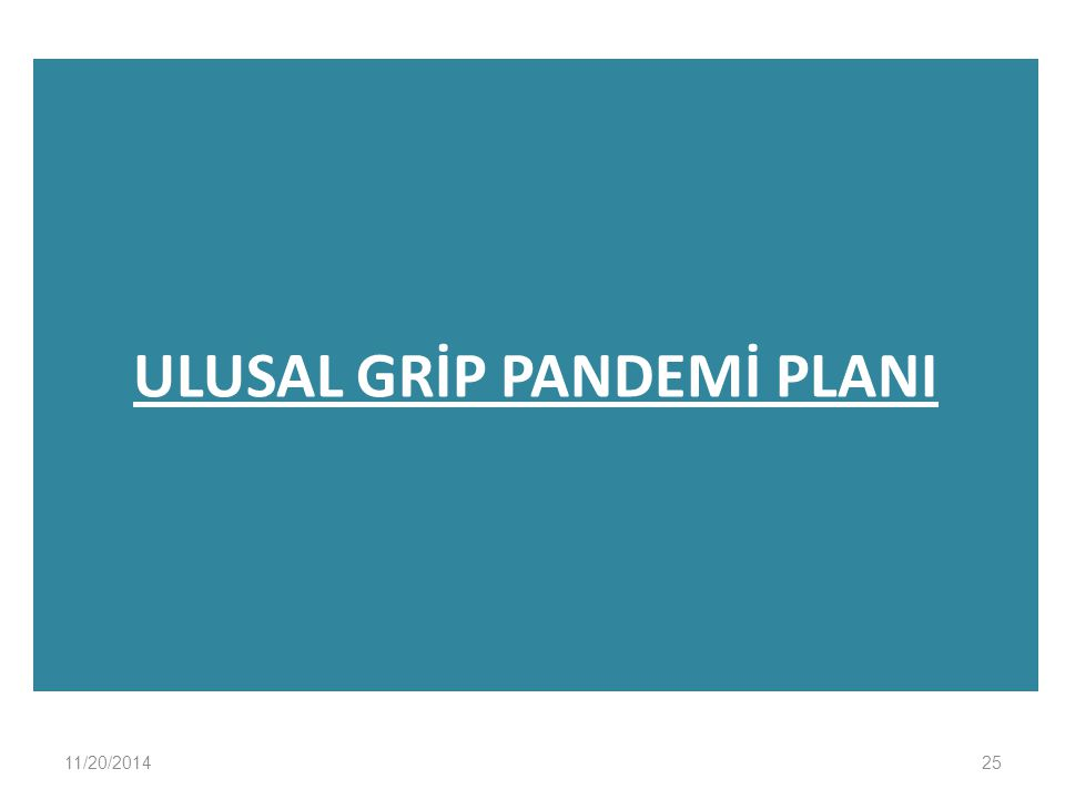 ULUSAL GRİP PANDEMİ PLANI 11/20/201425