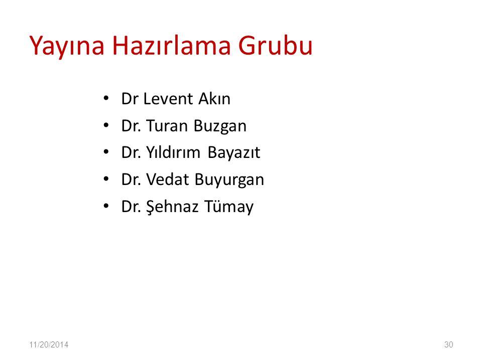 Yayına Hazırlama Grubu Dr Levent Akın Dr. Turan Buzgan Dr. Yıldırım Bayazıt Dr. Vedat Buyurgan Dr. Şehnaz Tümay 11/20/201430