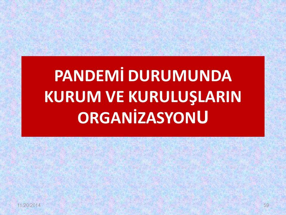 PANDEMİ DURUMUNDA KURUM VE KURULUŞLARIN ORGANİZASYON U 11/20/201459