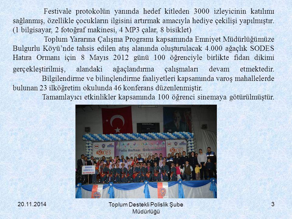 20.11.2014 Toplum Destekli Polislik Şube Müdürlüğü 3 Festivale protokolün yanında hedef kitleden 3000 izleyicinin katılımı sağlanmış, özellikle çocukl