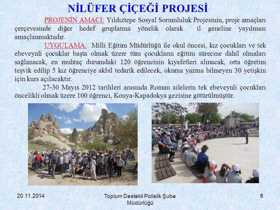 20.11.2014 Toplum Destekli Polislik Şube Müdürlüğü 7 İl içi öğrenci gezilerinde 300 Roman öğrenciye 3 parti halinde İnönü Üniversitesi ve Darende gezisi yaptırılacaktır.