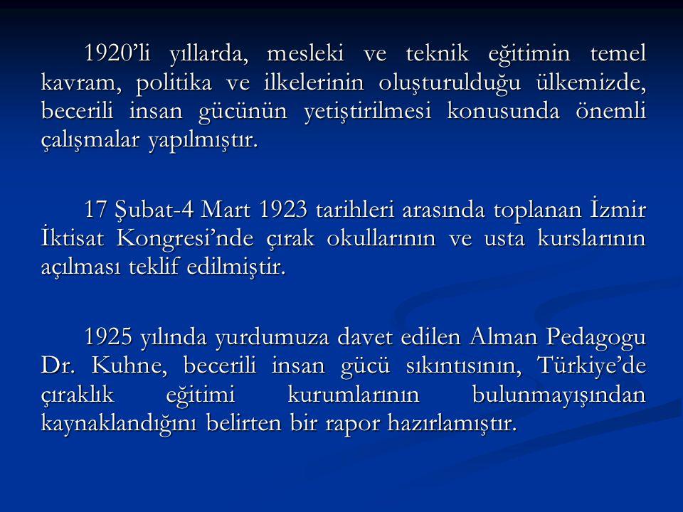 1930 yılında yürürlüğe konan 1580 sayılı Belediyeler Kanunu'yla belediyelere çırak okulu açma yetkisi verilmiştir.