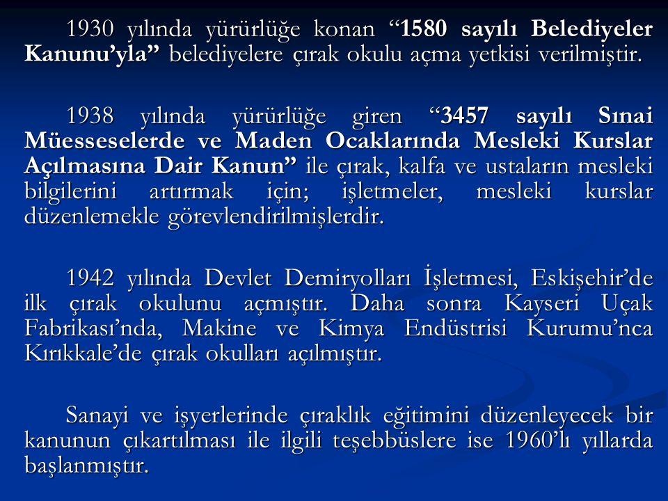 """1930 yılında yürürlüğe konan """"1580 sayılı Belediyeler Kanunu'yla"""" belediyelere çırak okulu açma yetkisi verilmiştir. 1938 yılında yürürlüğe giren """"345"""