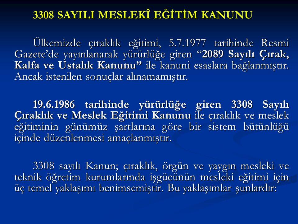 """3308 SAYILI MESLEKÎ EĞİTİM KANUNU Ülkemizde çıraklık eğitimi, 5.7.1977 tarihinde Resmi Gazete'de yayınlanarak yürürlüğe giren """"2089 Sayılı Çırak, Kalf"""