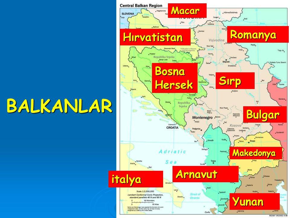 BALKANLAR Sırp Bulgar Yunan Arnavut italya Bosna Hersek Romanya Macar Makedonya Hırvatistan