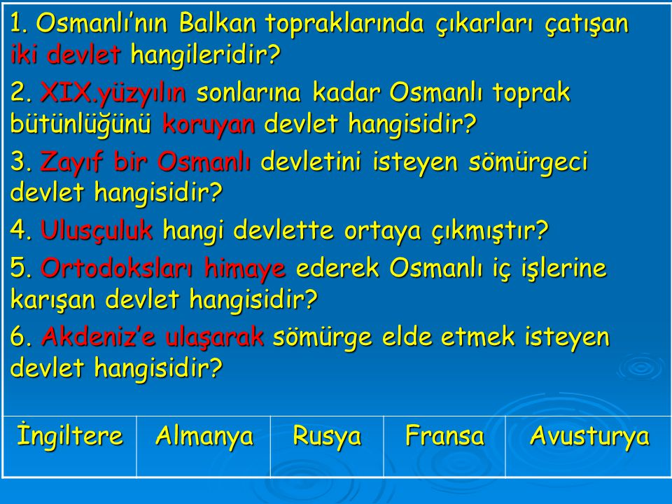 1. Osmanlı'nın Balkan topraklarında çıkarları çatışan iki devlet hangileridir? 2. XIX.yüzyılın sonlarına kadar Osmanlı toprak bütünlüğünü koruyan devl