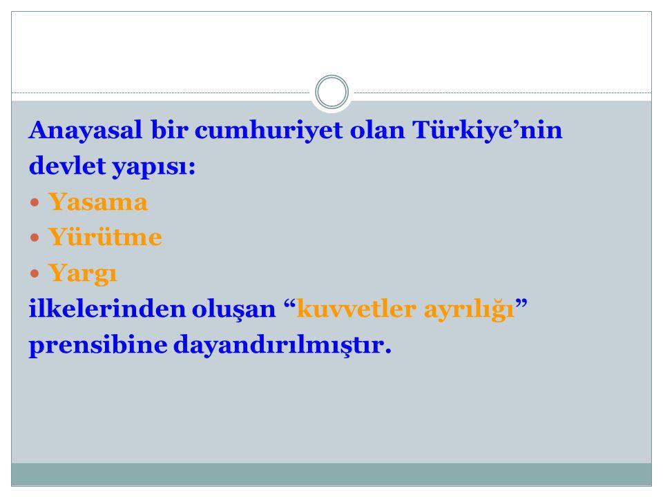 """Anayasal bir cumhuriyet olan Türkiye'nin devlet yapısı: Yasama Yürütme Yargı ilkelerinden oluşan """"kuvvetler ayrılığı"""" prensibine dayandırılmıştır."""