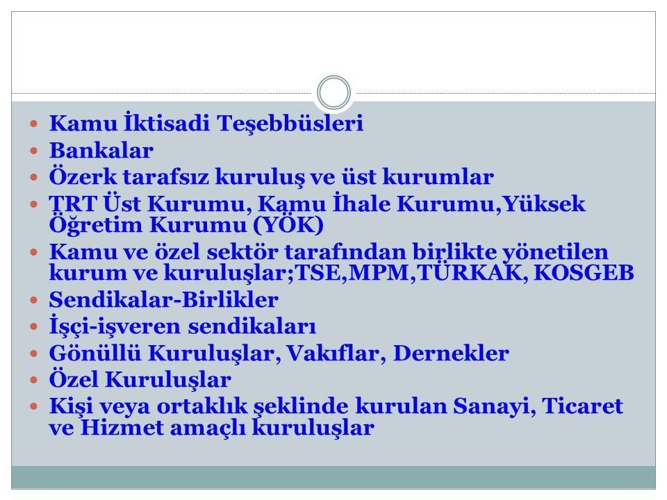 Kamu İktisadi Teşebbüsleri Bankalar Özerk tarafsız kuruluş ve üst kurumlar TRT Üst Kurumu, Kamu İhale Kurumu,Yüksek Öğretim Kurumu (YÖK) Kamu ve özel