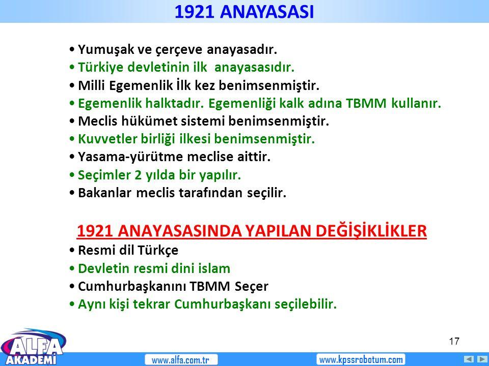 17 Yumuşak ve çerçeve anayasadır. Türkiye devletinin ilk anayasasıdır. Milli Egemenlik İlk kez benimsenmiştir. Egemenlik halktadır. Egemenliği kalk ad