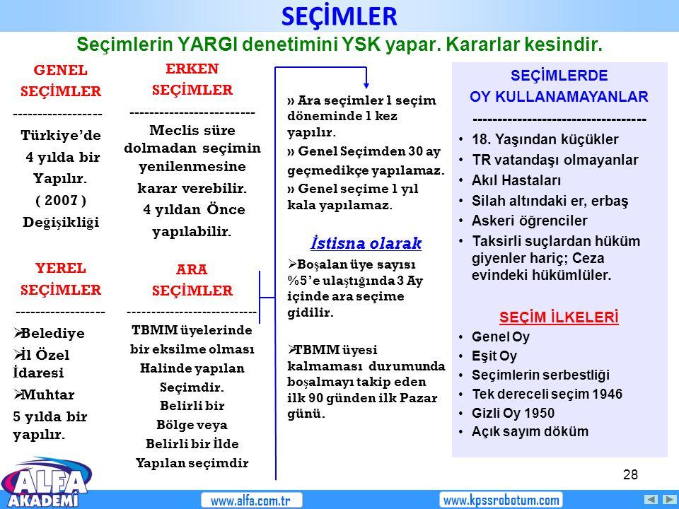 28 Seçimlerin YARGI denetimini YSK yapar. Kararlar kesindir. GENEL SEÇ İ MLER ------------------ Türkiye'de 4 yılda bir Yapılır. ( 2007 ) De ğ i ş ikl