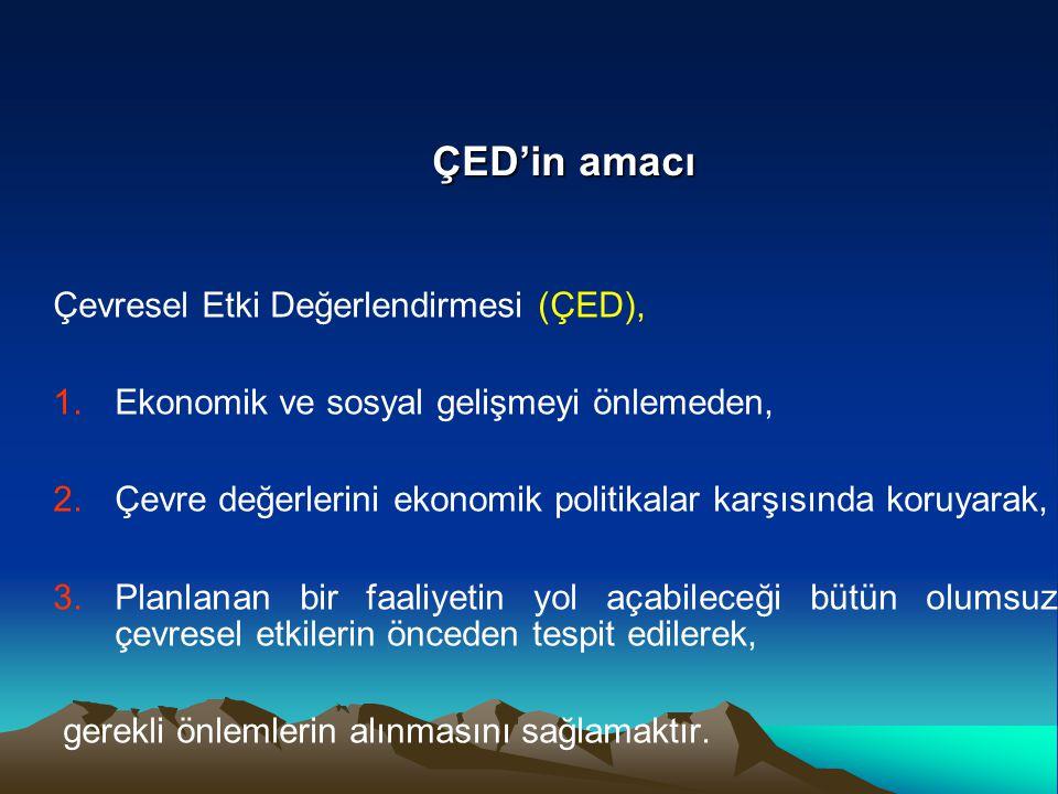 Çevresel Etki Değerlendirmesi (ÇED), 1.Ekonomik ve sosyal gelişmeyi önlemeden, 2.Çevre değerlerini ekonomik politikalar karşısında koruyarak, 3.Planla