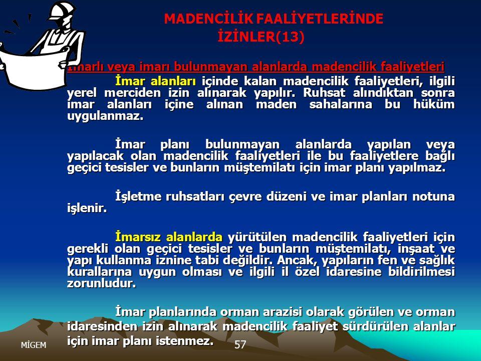 MİGEM 57 MADENCİLİK FAALİYETLERİNDE İZİNLER(13) İmarlı veya imarı bulunmayan alanlarda madencilik faaliyetleri İmar alanları içinde kalan madencilik f