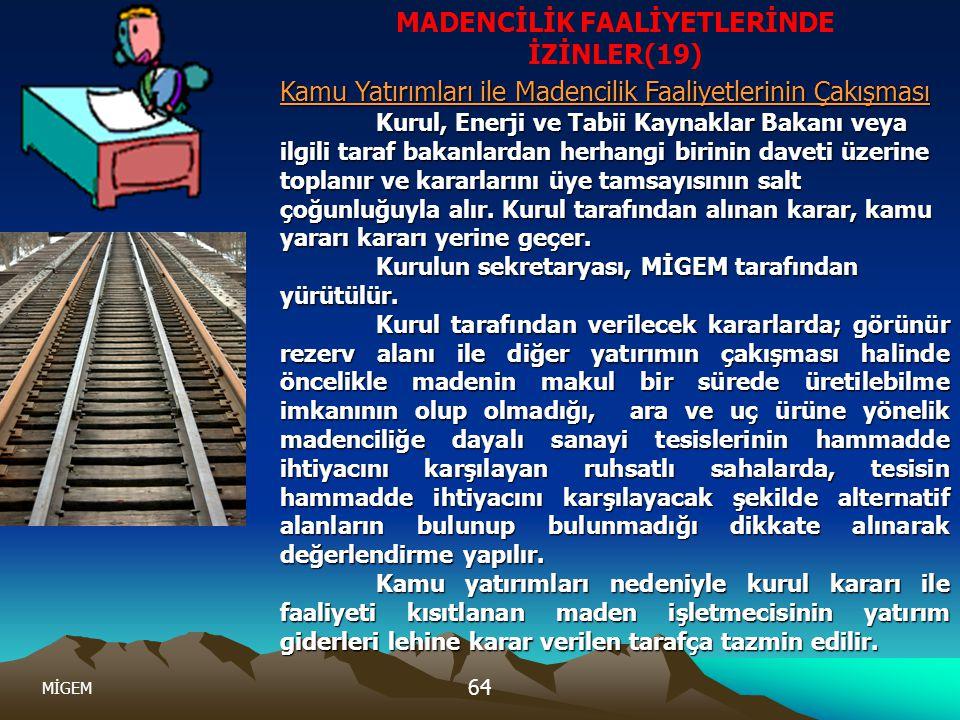 MİGEM 64. MADENCİLİK FAALİYETLERİNDE İZİNLER(19) Kamu Yatırımları ile Madencilik Faaliyetlerinin Çakışması Kurul, Enerji ve Tabii Kaynaklar Bakanı vey