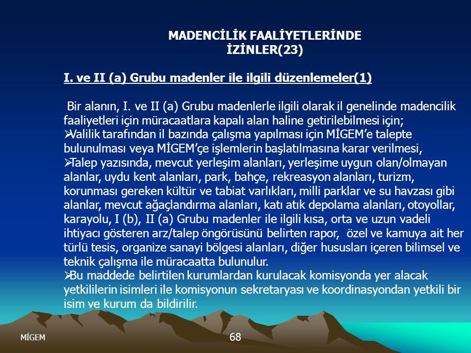 MİGEM 68 MADENCİLİK FAALİYETLERİNDE İZİNLER(23) I. ve II (a) Grubu madenler ile ilgili düzenlemeler(1) Bir alanın, I. ve II (a) Grubu madenlerle ilgil