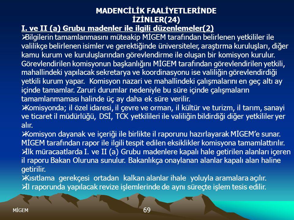 MİGEM 69 MADENCİLİK FAALİYETLERİNDE İZİNLER(24) I. ve II (a) Grubu madenler ile ilgili düzenlemeler(2)  Bilgilerin tamamlanmasını müteakip MİGEM tara