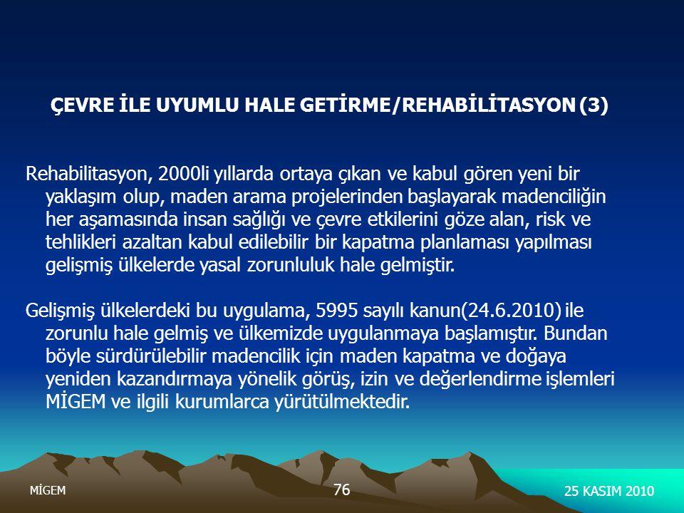 25 KASIM 2010 MİGEM 76 ÇEVRE İLE UYUMLU HALE GETİRME/REHABİLİTASYON (3) Rehabilitasyon, 2000li yıllarda ortaya çıkan ve kabul gören yeni bir yaklaşım