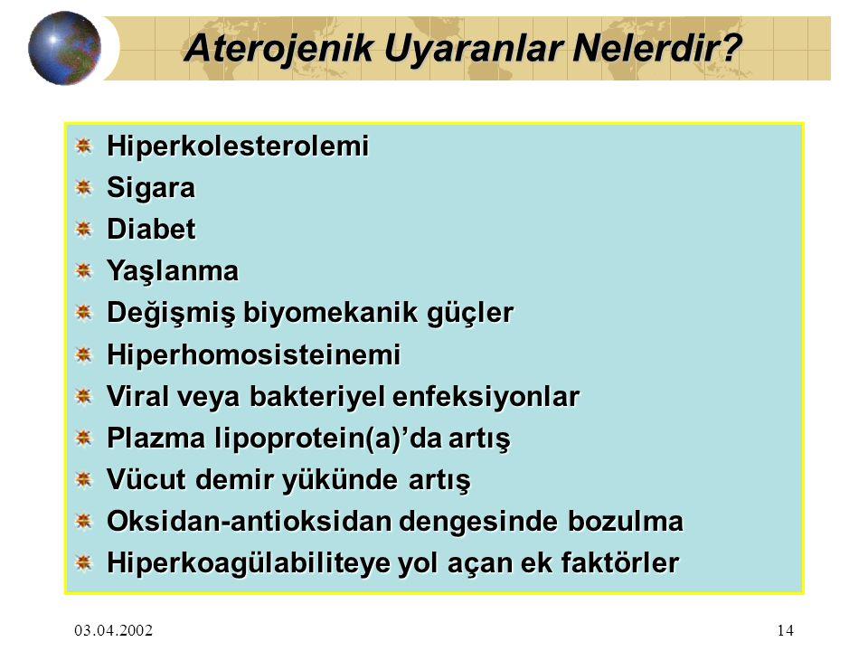 03.04.200214 HiperkolesterolemiSigaraDiabet Yaşlanma Değişmiş biyomekanik güçler Hiperhomosisteinemi Viral veya bakteriyel enfeksiyonlar Plazma lipopr