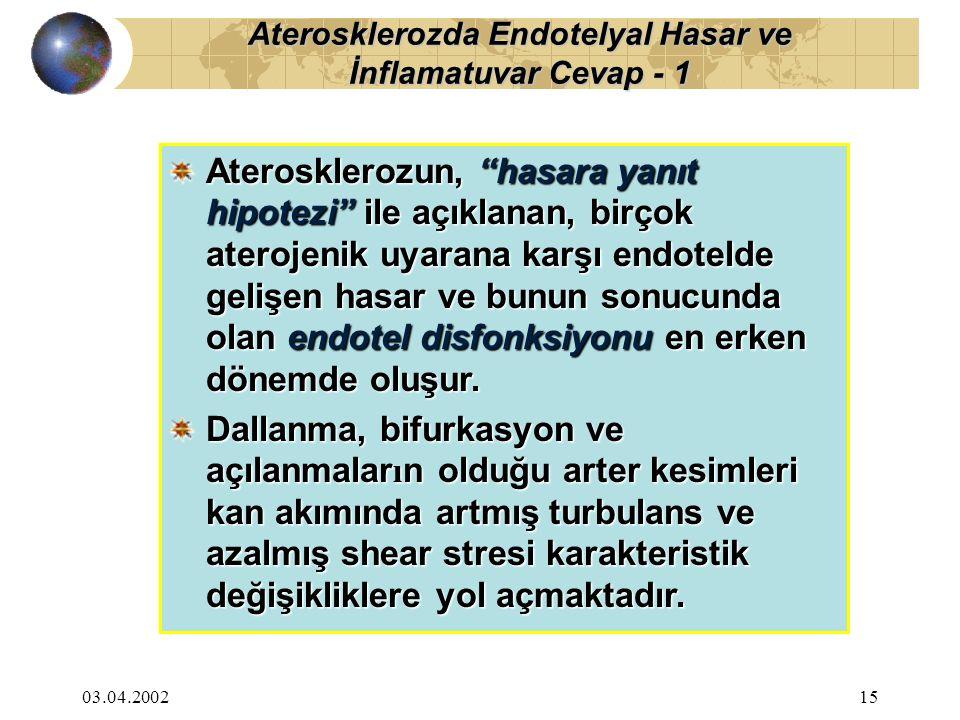 """03.04.200215 Aterosklerozun, """"hasara yanıt hipotezi"""" ile açıklanan, birçok aterojenik uyarana karşı endotelde gelişen hasar ve bunun sonucunda olan en"""