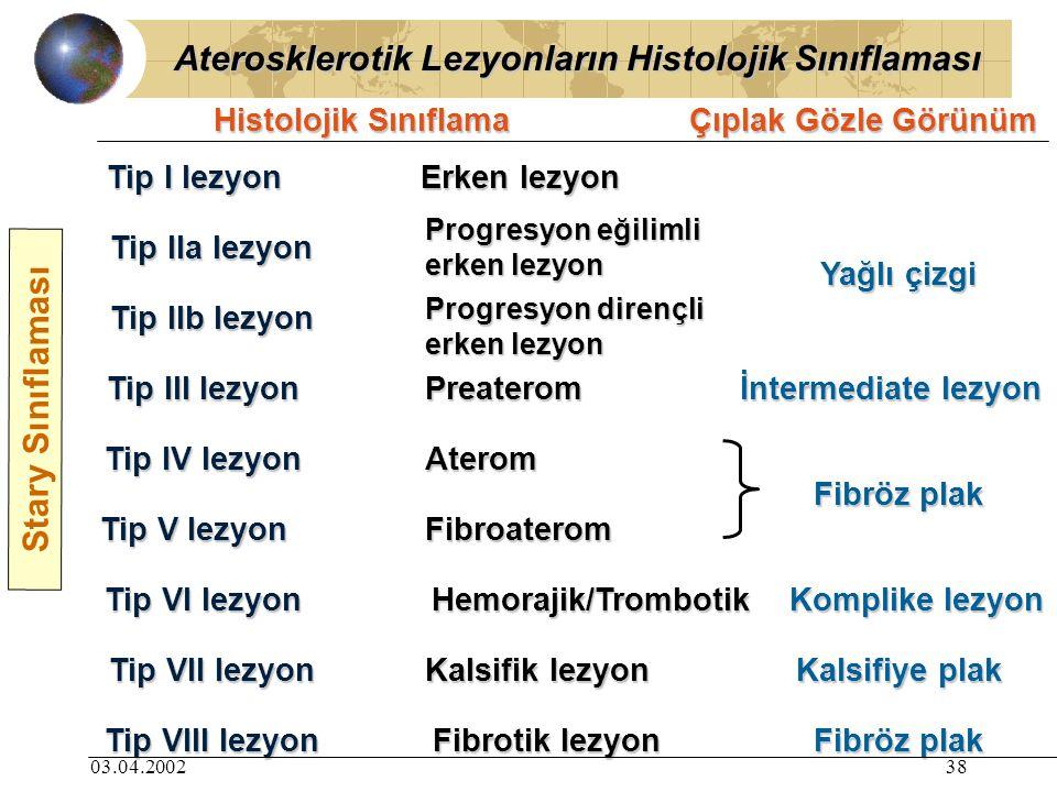 03.04.200238 Aterosklerotik Lezyonların Histolojik Sınıflaması Tip I lezyon Erken lezyon Tip IIa lezyon Tip III lezyon Tip IV lezyon Tip VII lezyon Tip VI lezyon Tip V lezyon Tip IIb lezyon Progresyon eğilimli erken lezyon Progresyon dirençli erken lezyon Preaterom Aterom Fibroaterom Hemorajik/Trombotik Tip VIII lezyon Kalsifik lezyon Fibrotik lezyon Yağlı çizgi İntermediate lezyon Fibröz plak Komplike lezyon Kalsifiye plak Fibröz plak Histolojik Sınıflama Çıplak Gözle Görünüm Stary Sınıflaması