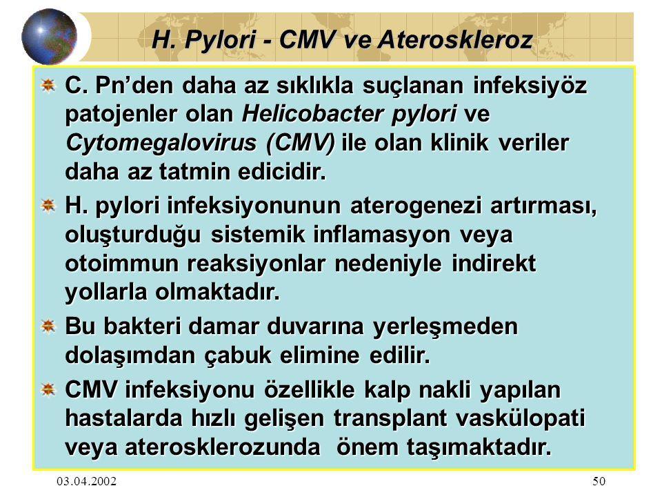 03.04.200250 C. Pn'den daha az sıklıkla suçlanan infeksiyöz patojenler olan Helicobacter pylori ve Cytomegalovirus (CMV) ile olan klinik veriler daha