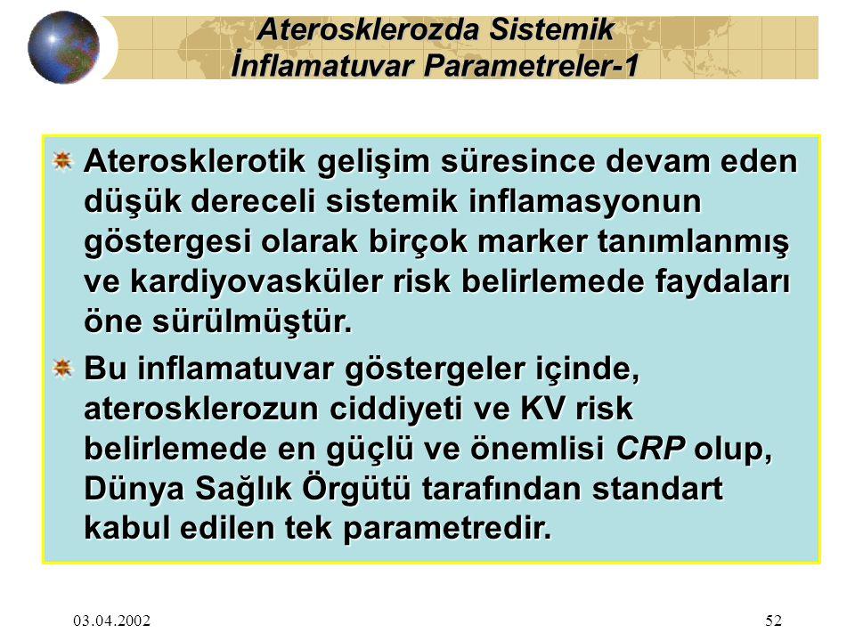 03.04.200252 Aterosklerotik gelişim süresince devam eden düşük dereceli sistemik inflamasyonun göstergesi olarak birçok marker tanımlanmış ve kardiyovasküler risk belirlemede faydaları öne sürülmüştür.