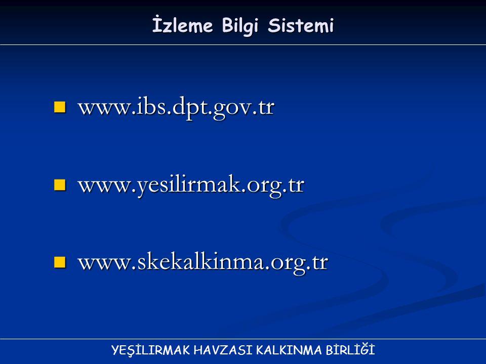 YEŞİLIRMAK HAVZASI KALKINMA BİRLİĞİ İzleme Bilgi Sistemi www.ibs.dpt.gov.tr www.ibs.dpt.gov.tr www.yesilirmak.org.tr www.yesilirmak.org.tr www.skekalk