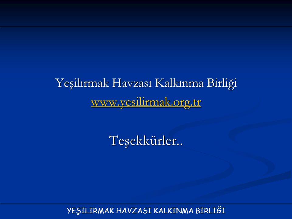 YEŞİLIRMAK HAVZASI KALKINMA BİRLİĞİ Yeşilırmak Havzası Kalkınma Birliği www.yesilirmak.org.tr Teşekkürler..