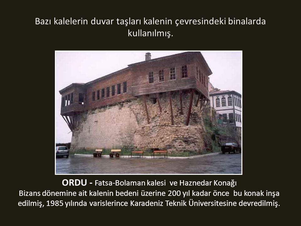 Bazı kalelerin duvar taşları kalenin çevresindeki binalarda kullanılmış.
