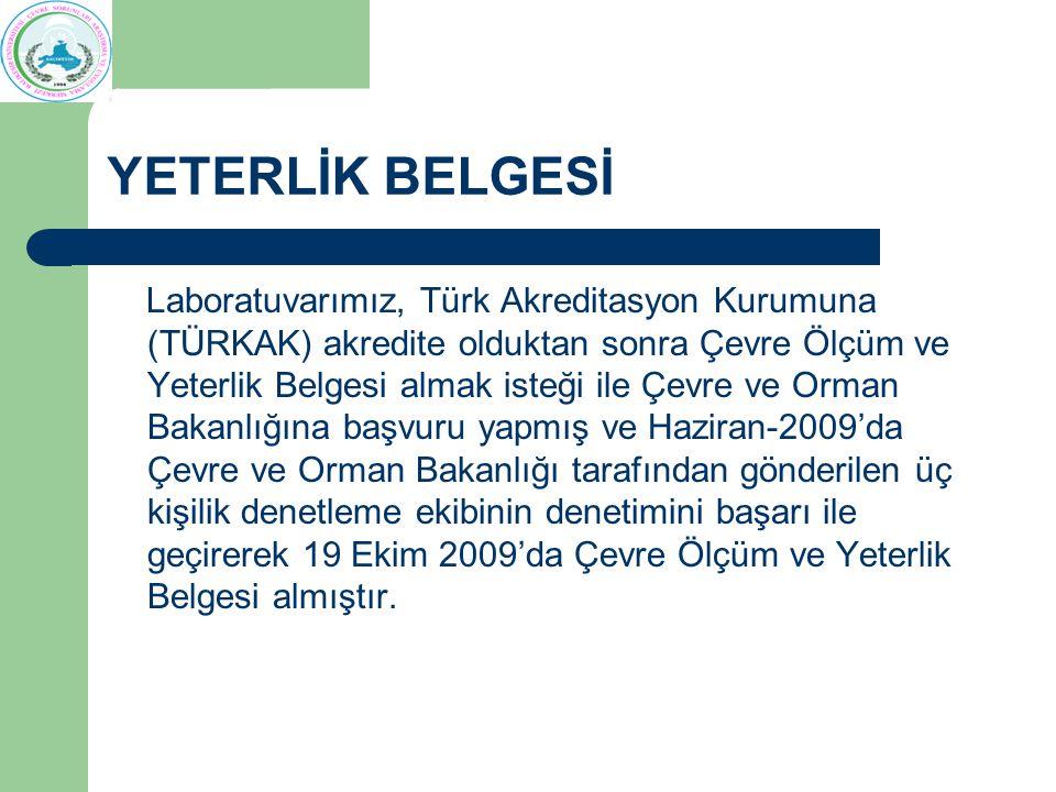 YETERLİK BELGESİ Laboratuvarımız, Türk Akreditasyon Kurumuna (TÜRKAK) akredite olduktan sonra Çevre Ölçüm ve Yeterlik Belgesi almak isteği ile Çevre ve Orman Bakanlığına başvuru yapmış ve Haziran-2009'da Çevre ve Orman Bakanlığı tarafından gönderilen üç kişilik denetleme ekibinin denetimini başarı ile geçirerek 19 Ekim 2009'da Çevre Ölçüm ve Yeterlik Belgesi almıştır.