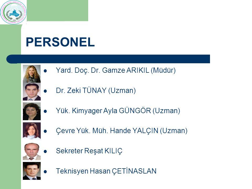 PERSONEL Yard. Doç. Dr. Gamze ARIKIL (Müdür) Dr. Zeki TÜNAY (Uzman) Yük. Kimyager Ayla GÜNGÖR (Uzman) Çevre Yük. Müh. Hande YALÇIN (Uzman) Sekreter Re