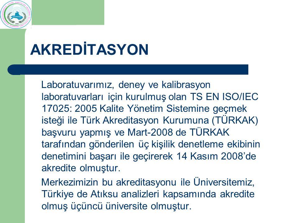 AKREDİTASYON Laboratuvarımız, deney ve kalibrasyon laboratuvarları için kurulmuş olan TS EN ISO/IEC 17025: 2005 Kalite Yönetim Sistemine geçmek isteği ile Türk Akreditasyon Kurumuna (TÜRKAK) başvuru yapmış ve Mart-2008 de TÜRKAK tarafından gönderilen üç kişilik denetleme ekibinin denetimini başarı ile geçirerek 14 Kasım 2008'de akredite olmuştur.