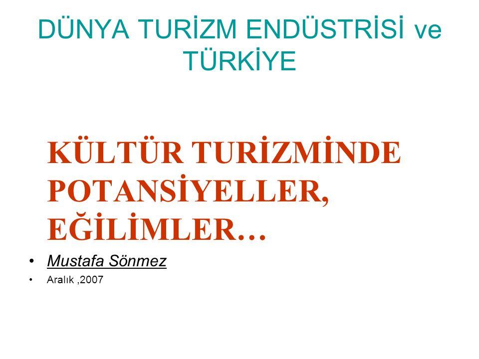DÜNYA TURİZM ENDÜSTRİSİ ve TÜRKİYE KÜLTÜR TURİZMİNDE POTANSİYELLER, EĞİLİMLER… Mustafa Sönmez Aralık,2007