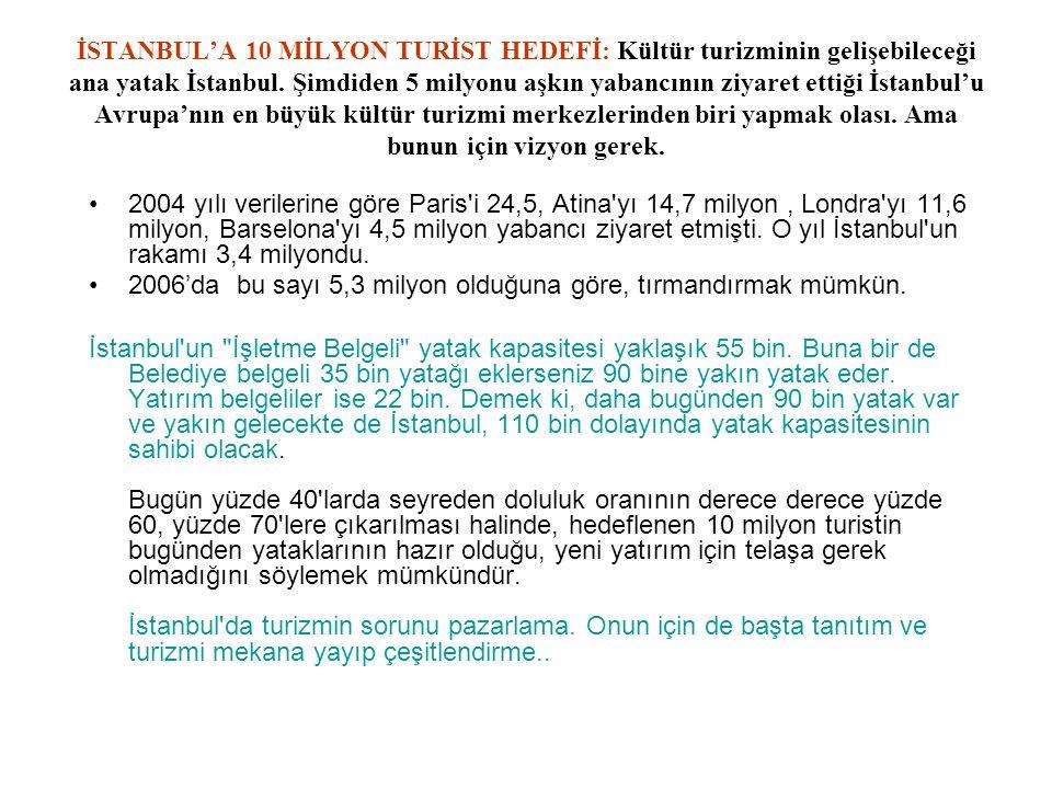 İSTANBUL'A 10 MİLYON TURİST HEDEFİ: Kültür turizminin gelişebileceği ana yatak İstanbul. Şimdiden 5 milyonu aşkın yabancının ziyaret ettiği İstanbul'u