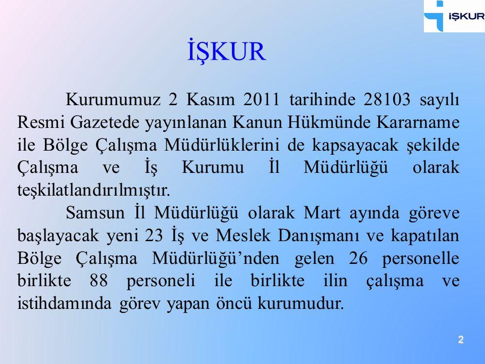 2 Kurumumuz 2 Kasım 2011 tarihinde 28103 sayılı Resmi Gazetede yayınlanan Kanun Hükmünde Kararname ile Bölge Çalışma Müdürlüklerini de kapsayacak şeki