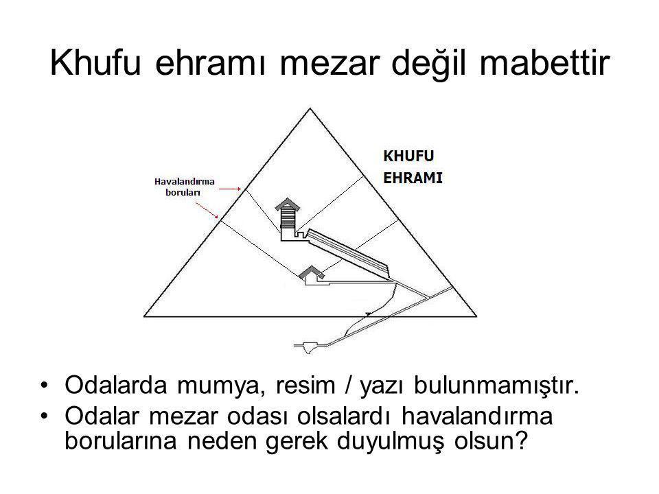 Khufu ehramı mezar değil mabettir Odalarda mumya, resim / yazı bulunmamıştır.