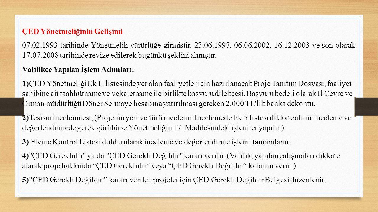ÇED Yönetmeliğinin Gelişimi 07.02.1993 tarihinde Yönetmelik yürürlüğe girmiştir.