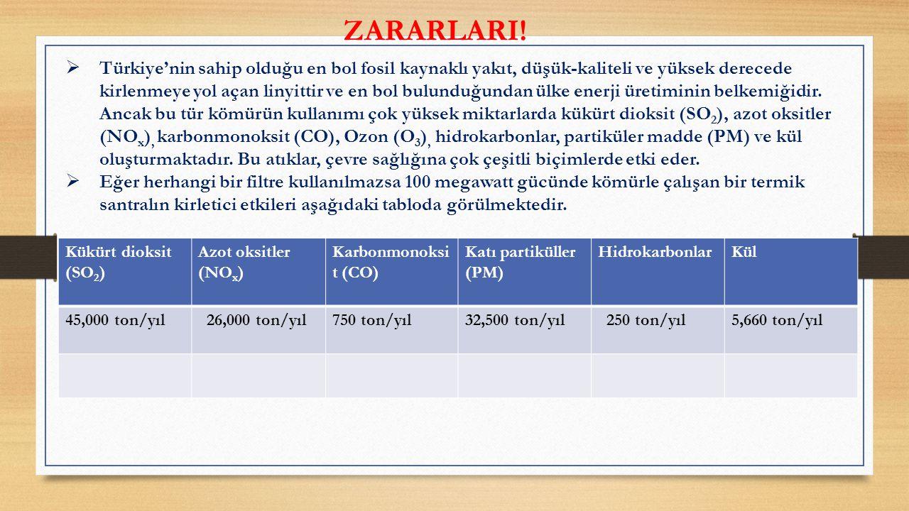  Türkiye'nin sahip olduğu en bol fosil kaynaklı yakıt, düşük-kaliteli ve yüksek derecede kirlenmeye yol açan linyittir ve en bol bulunduğundan ülke enerji üretiminin belkemiğidir.