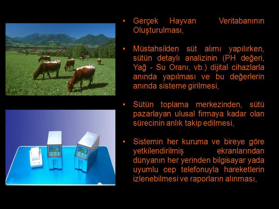 Gerçek Hayvan Veritabanının Oluşturulması, Müstahsilden süt alımı yapılırken, sütün detaylı analizinin (PH değeri, Yağ - Su Oranı, vb.) dijital cihazl