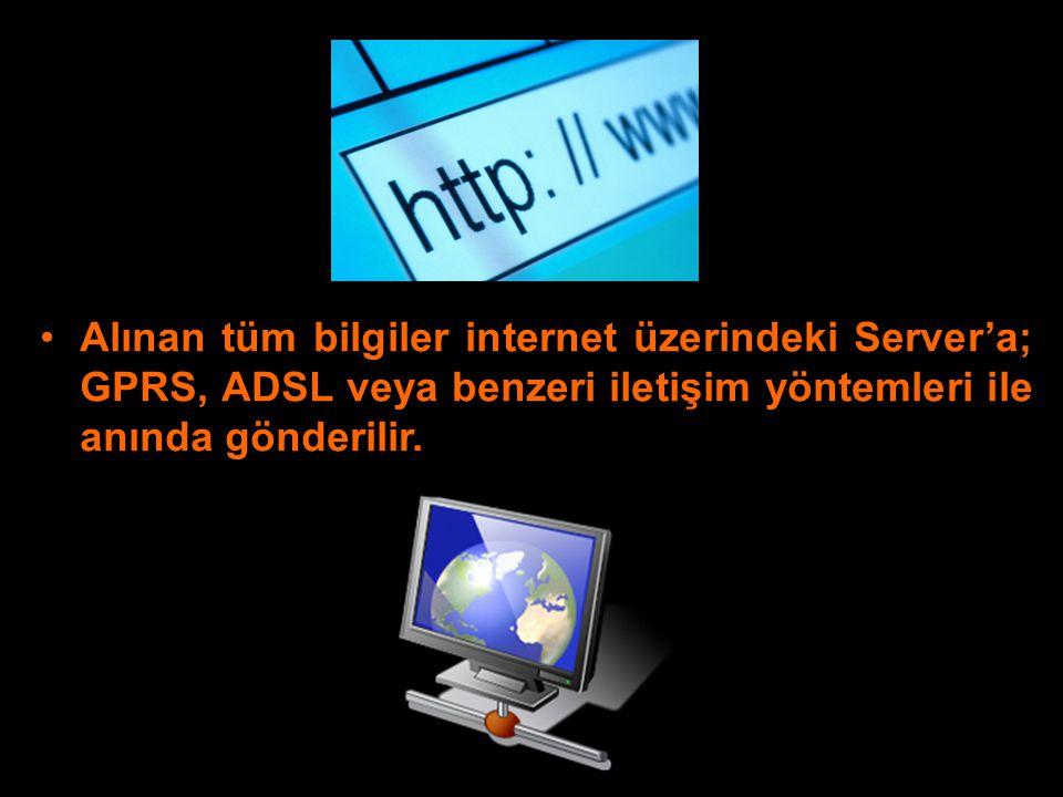 Alınan tüm bilgiler internet üzerindeki Server'a; GPRS, ADSL veya benzeri iletişim yöntemleri ile anında gönderilir.