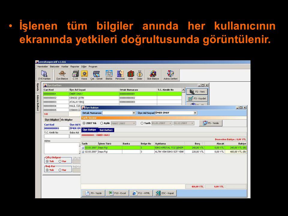İşlenen tüm bilgiler anında her kullanıcının ekranında yetkileri doğrultusunda görüntülenir.