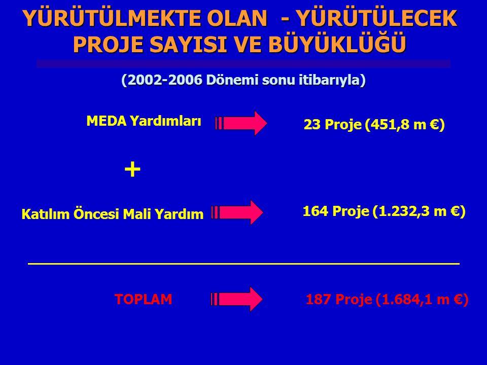 YÜRÜTÜLMEKTE OLAN - YÜRÜTÜLECEK PROJE SAYISI VE BÜYÜKLÜĞÜ MEDA Yardımları 23 Proje (451,8 m €) Katılım Öncesi Mali Yardım 164 Proje (1.232,3 m €) + TOPLAM 187 Proje (1.684,1 m €) (2002-2006 Dönemi sonu itibarıyla)