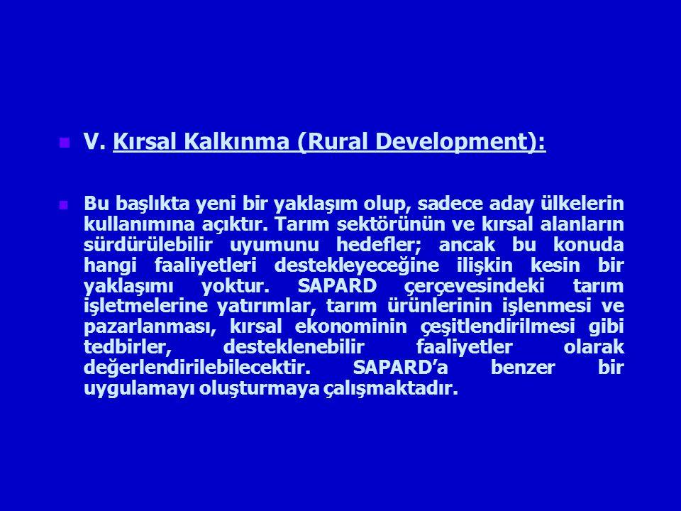 V. Kırsal Kalkınma (Rural Development): Bu başlıkta yeni bir yaklaşım olup, sadece aday ülkelerin kullanımına açıktır. Tarım sektörünün ve kırsal alan