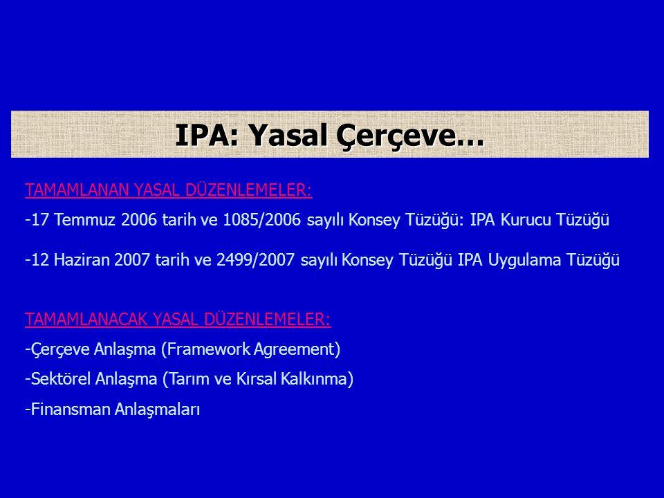 TAMAMLANAN YASAL DÜZENLEMELER: -17 Temmuz 2006 tarih ve 1085/2006 sayılı Konsey Tüzüğü: IPA Kurucu Tüzüğü -12 Haziran 2007 tarih ve 2499/2007 sayılı Konsey Tüzüğü IPA Uygulama Tüzüğü TAMAMLANACAK YASAL DÜZENLEMELER: -Çerçeve Anlaşma (Framework Agreement) -Sektörel Anlaşma (Tarım ve Kırsal Kalkınma) -Finansman Anlaşmaları IPA: Yasal Çerçeve…