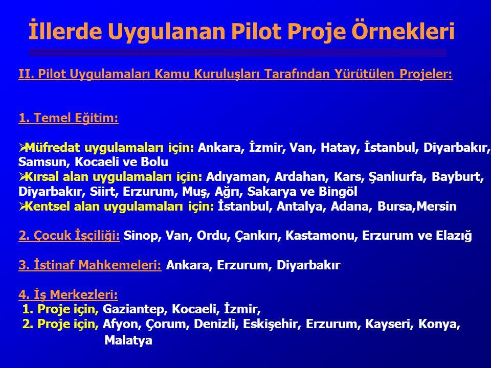 II.Pilot Uygulamaları Kamu Kuruluşları Tarafından Yürütülen Projeler: 1.