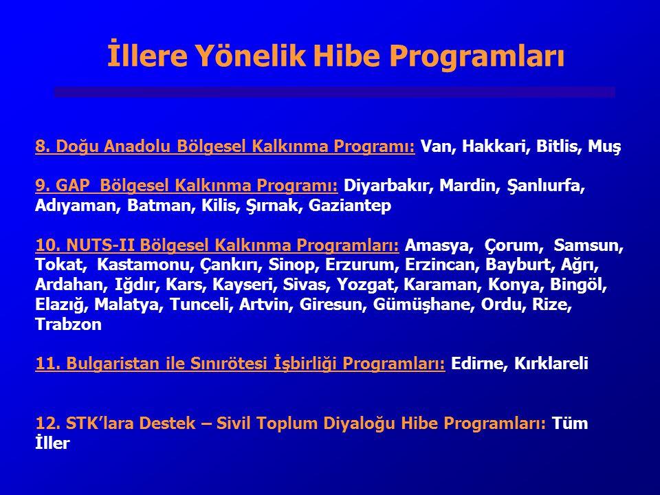 İllere Yönelik Hibe Programları 8.