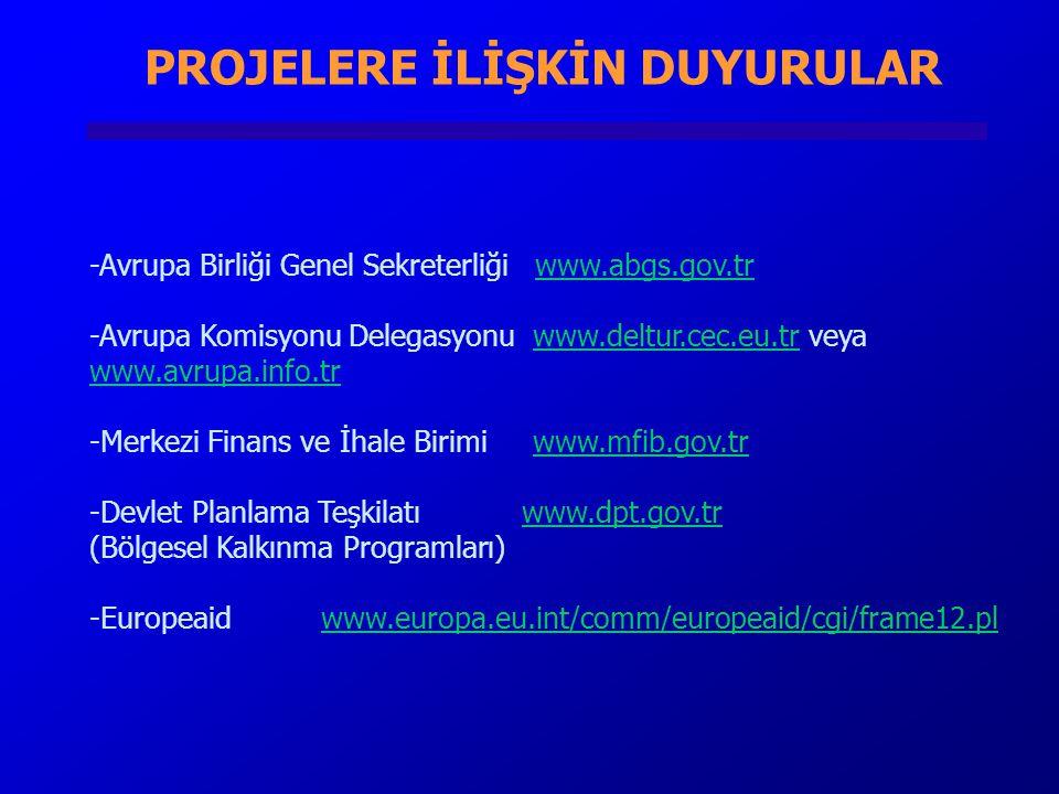 PROJELERE İLİŞKİN DUYURULAR -Avrupa Birliği Genel Sekreterliği www.abgs.gov.trwww.abgs.gov.tr -Avrupa Komisyonu Delegasyonu www.deltur.cec.eu.tr veya www.avrupa.info.trwww.deltur.cec.eu.tr www.avrupa.info.tr -Merkezi Finans ve İhale Birimi www.mfib.gov.trwww.mfib.gov.tr -Devlet Planlama Teşkilatı www.dpt.gov.tr (Bölgesel Kalkınma Programları) -Europeaid www.europa.eu.int/comm/europeaid/cgi/frame12.plwww.europa.eu.int/comm/europeaid/cgi/frame12.pl