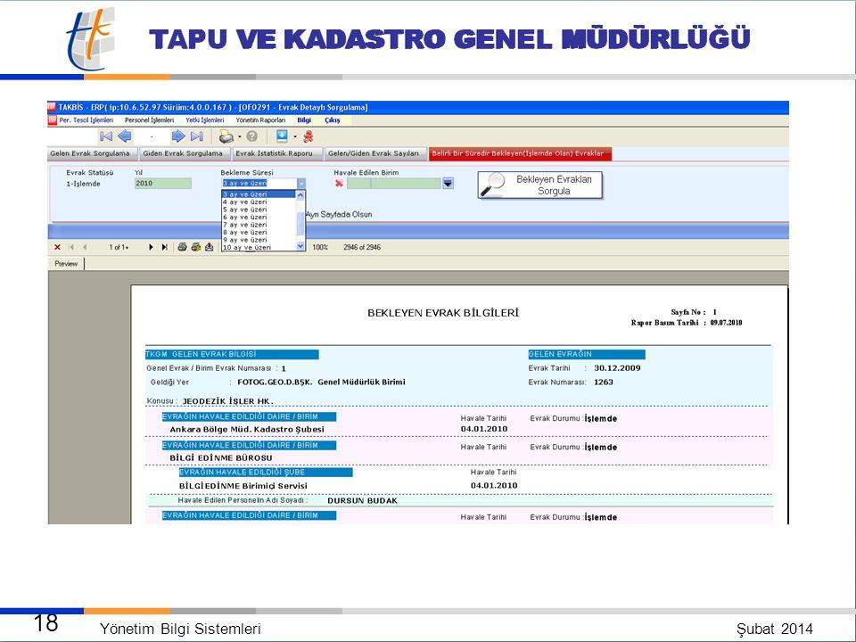 Yönetim Bilgi Sistemleri Şubat 2014 17 TAPU VE KADASTRO GENEL MÜDÜRLÜĞÜ